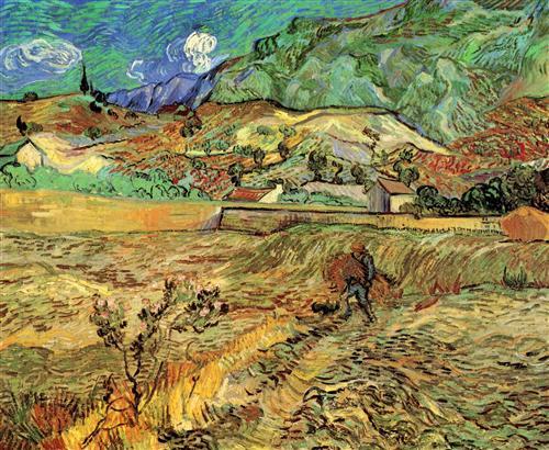 Постер на подрамнике Enclosed Wheat Field with Peasant