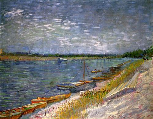 Постер на подрамнике View of a River with Rowing Boats