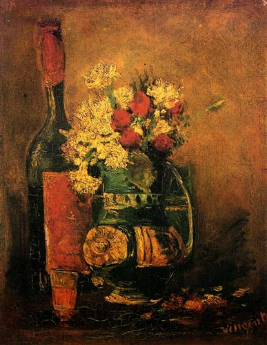 Постер на подрамнике Vase with Carnations and Roses and a Bottle