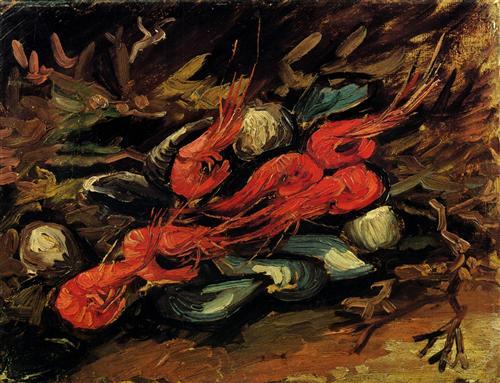 Постер на подрамнике Still Life with Mussels and Shrimps