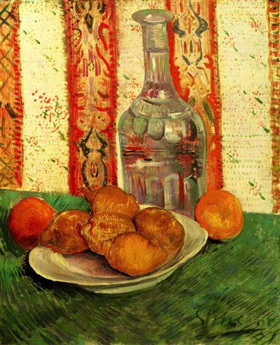 Постер на подрамнике Still Life with Decanter and Lemons on a Plate
