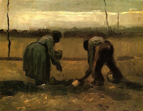 Постер на подрамнике Peasant and Peasant Woman Planting Potatoes