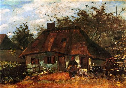 Плакат Cottage and Woman with Goat