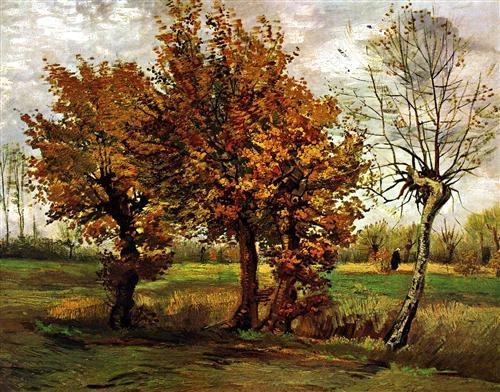 Постер на подрамнике Autumn Landscape with Four Trees
