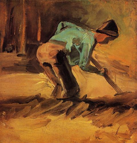 Постер на подрамнике Man Stooping with Stick or Spade