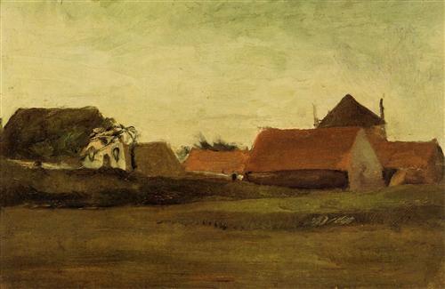 Постер на подрамнике Farmhouses in Loosduinen near The Hague at Twilight