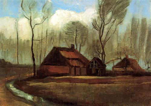 Постер на подрамнике Farmhouses Among Trees