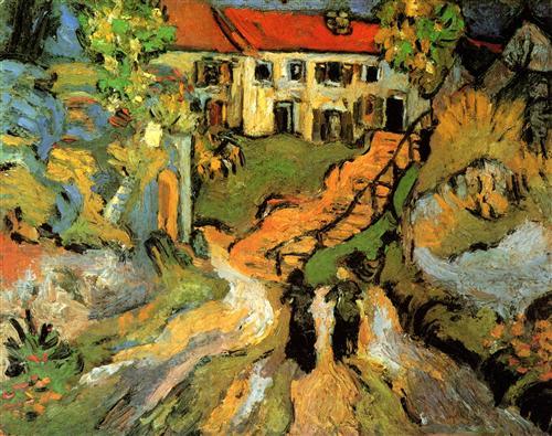 Постер на подрамнике Village Street and Steps in Auvers with Two Figures