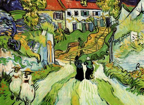 Плакат Village Street and Steps in Auvers with Figures