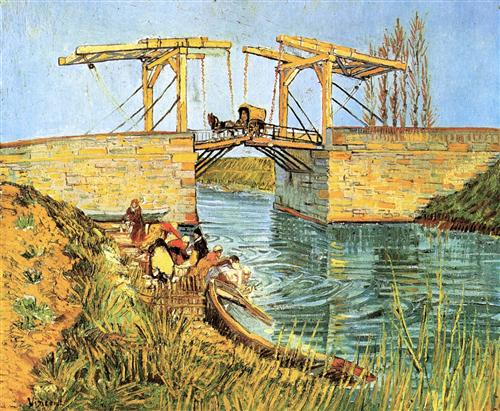 Постер на подрамнике The Langlois Bridge at Arles with Women Washing