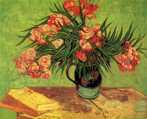 Постер на подрамнике Still Life Vase with Oleanders and Books