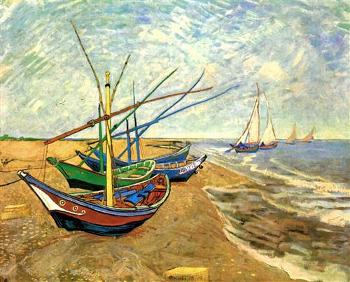Постер на подрамнике Fishing Boats on the Beach at Saintes-Maries