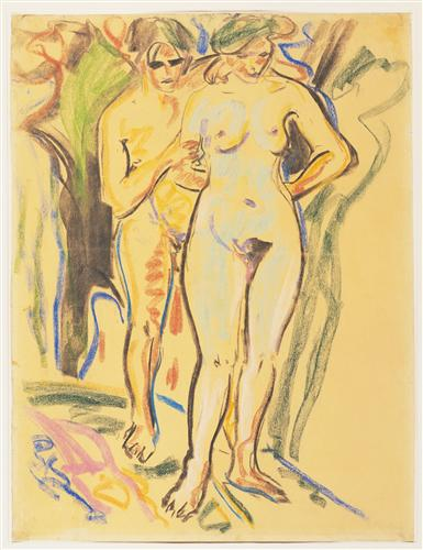 Плакат Two Nudes in a Landscape