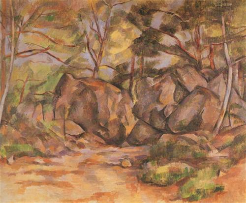 Постер на подрамнике Paysage forestier aux rochers (vers)