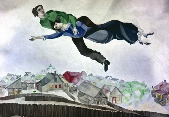Постер на подрамнике Марк Шагал. Летящий над городом