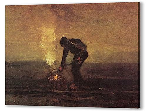Постер на подрамнике Peasant Burning Weeds  артикул 74165