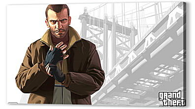 Постер на подрамнике - niko bellic, gta 4, grand theft auto 4