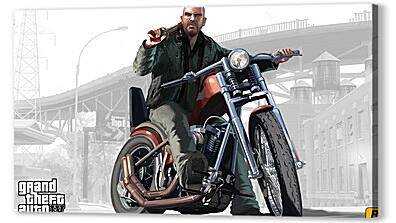 Постер на подрамнике - johnny, biker, gta 4 lost and damned