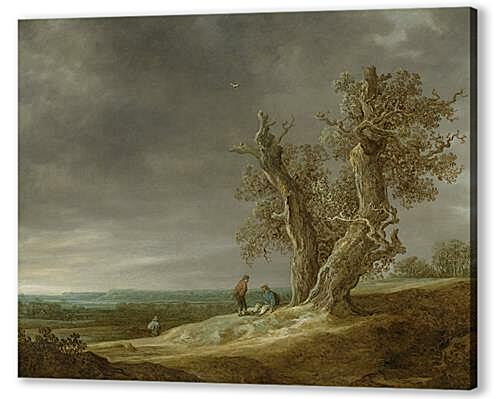 Постер на подрамнике - Landscape with two oaks