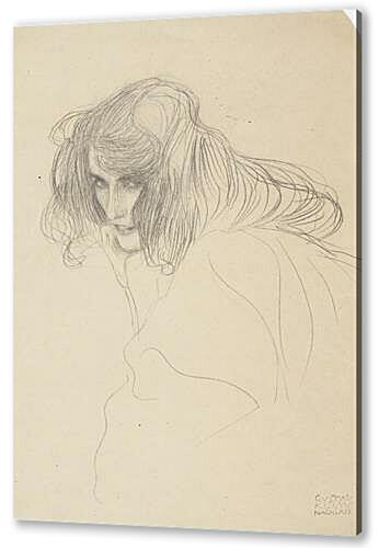 Study of a womans head in Drieviertelprofil (Study for adultery in the Beethoven frieze) 1902