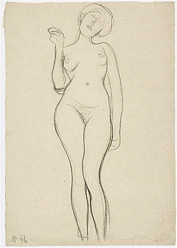 Standing female nude from the front with a raised right arm