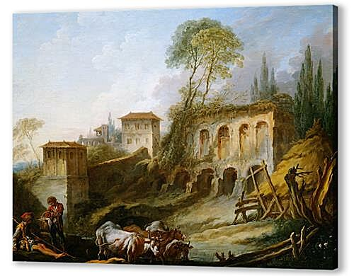 Постер на подрамнике - Imaginary Landscape with the Palatine Hill from Campo Vaccino