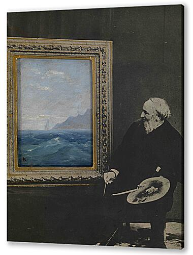 Постер на подрамнике - Self-Portrait with a Seascape, signed with an initial. Photocollage with oil on card