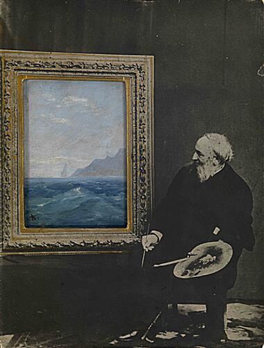 Self-Portrait with a Seascape, signed with an initial. Photocollage with oil on card