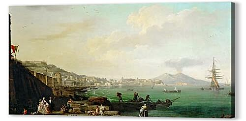 Постер на подрамнике - View of Naples with Mt. Vesuvius