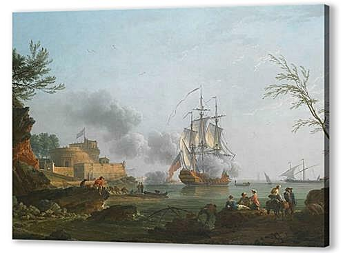 Постер на подрамнике - The entrance to a harbor with a ship firing a salute