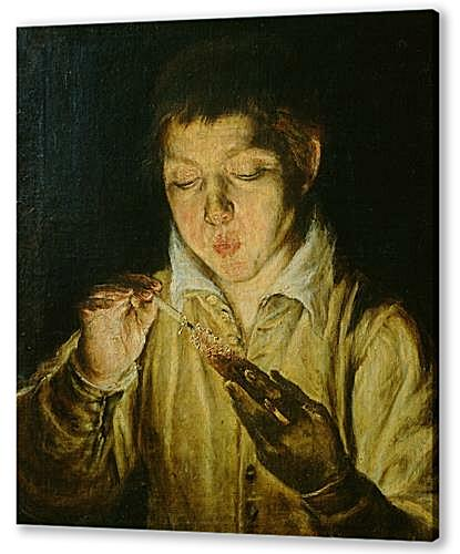 Картина маслом - A Boy Blowing on an Ember to Light a Candle