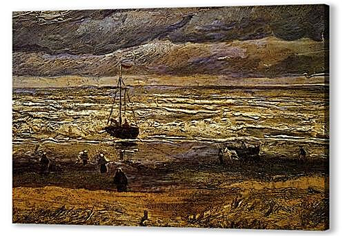 Постер на подрамнике - seascape with fishing boat