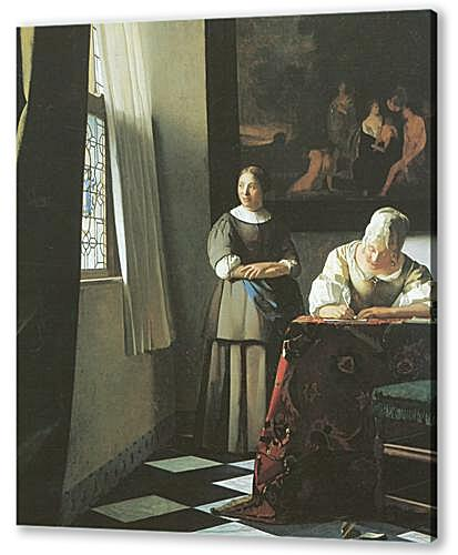 Картина маслом - Lady writing a letter with her maid