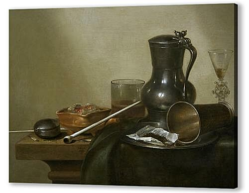 Постер на подрамнике - Still Life with Tobacco, Wine and a Pocket Watch