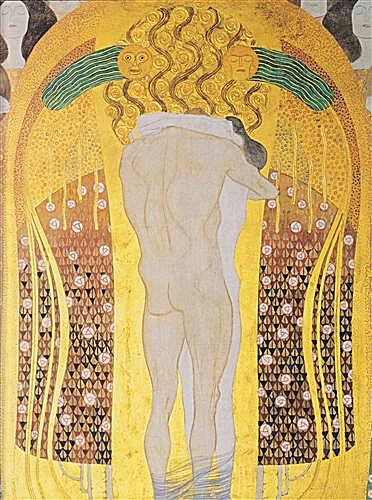 Beethoven Frieze, detal, A Kiss for the Whole World, 1902