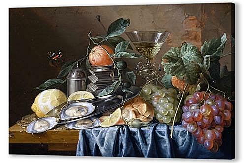 Постер на подрамнике - Still Life with Oysters and Grapes