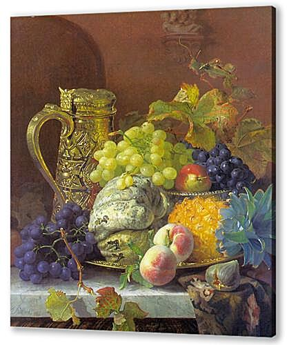 Картина маслом - Fruits on a tray with a silver flagon on a marble ledge