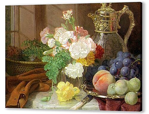 Картина маслом - Carnations in a glass vase on a draped marble ledge