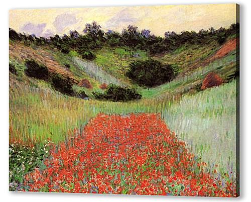 Poppy Field of Flowers in a Valley at Giverny