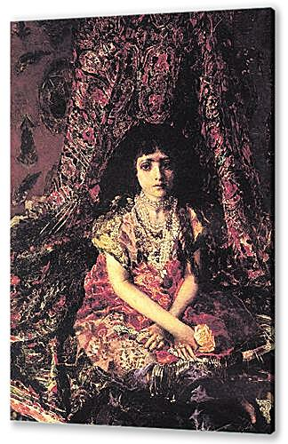 Постер на подрамнике - Portrait of a Girl against a Persian Carpet