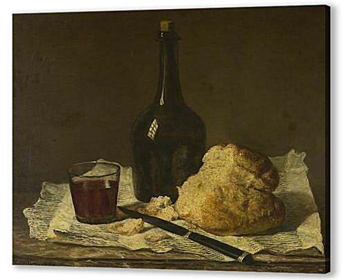 Картина маслом - Still Life with Bottle, Glass and Loaf