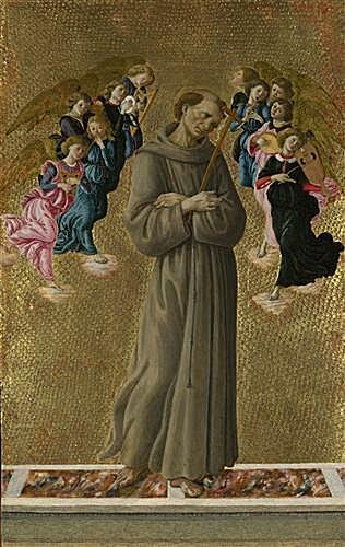 Картина - Saint Francis of Assisi with Angels