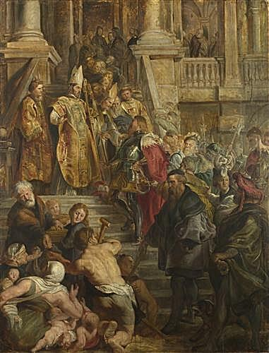 Saint Bavo is received by Saints Amand and Floribert