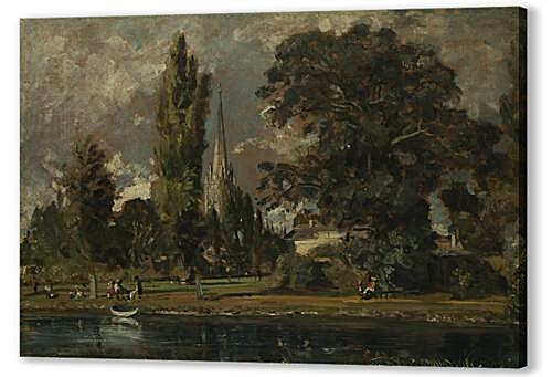 Картина маслом - Salisbury Cathedral and Leadenhall from the River Avon