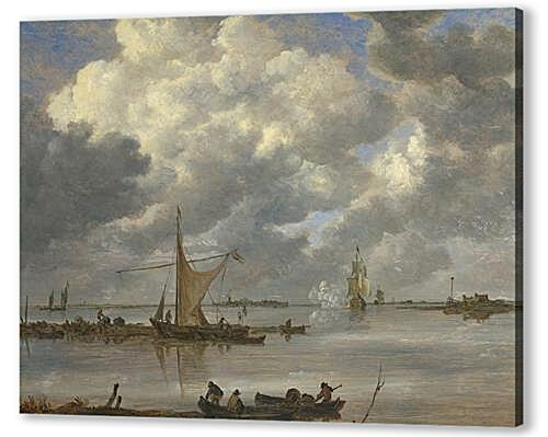 Постер на подрамнике - An Estuary with Fishing Boats and Two Frigates