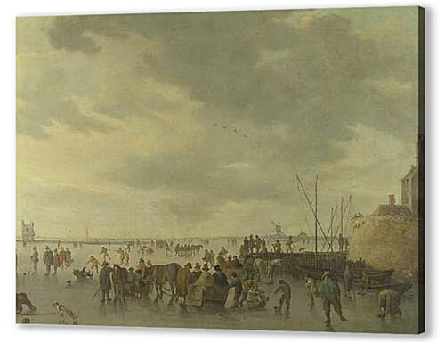 Постер на подрамнике - A Scene on the Ice near Dordrecht