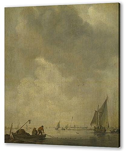 Постер на подрамнике - A River Scene, with Fishermen laying a Net