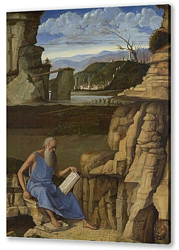 Постер на подрамнике - Saint Jerome reading in a Landscape