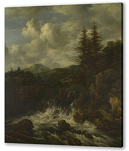 Постер на подрамнике - A Landscape with a Waterfall and a Castle on a Hill