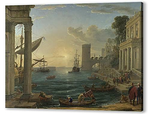 Постер на подрамнике - Seaport with the Embarkation of the Queen of Sheba